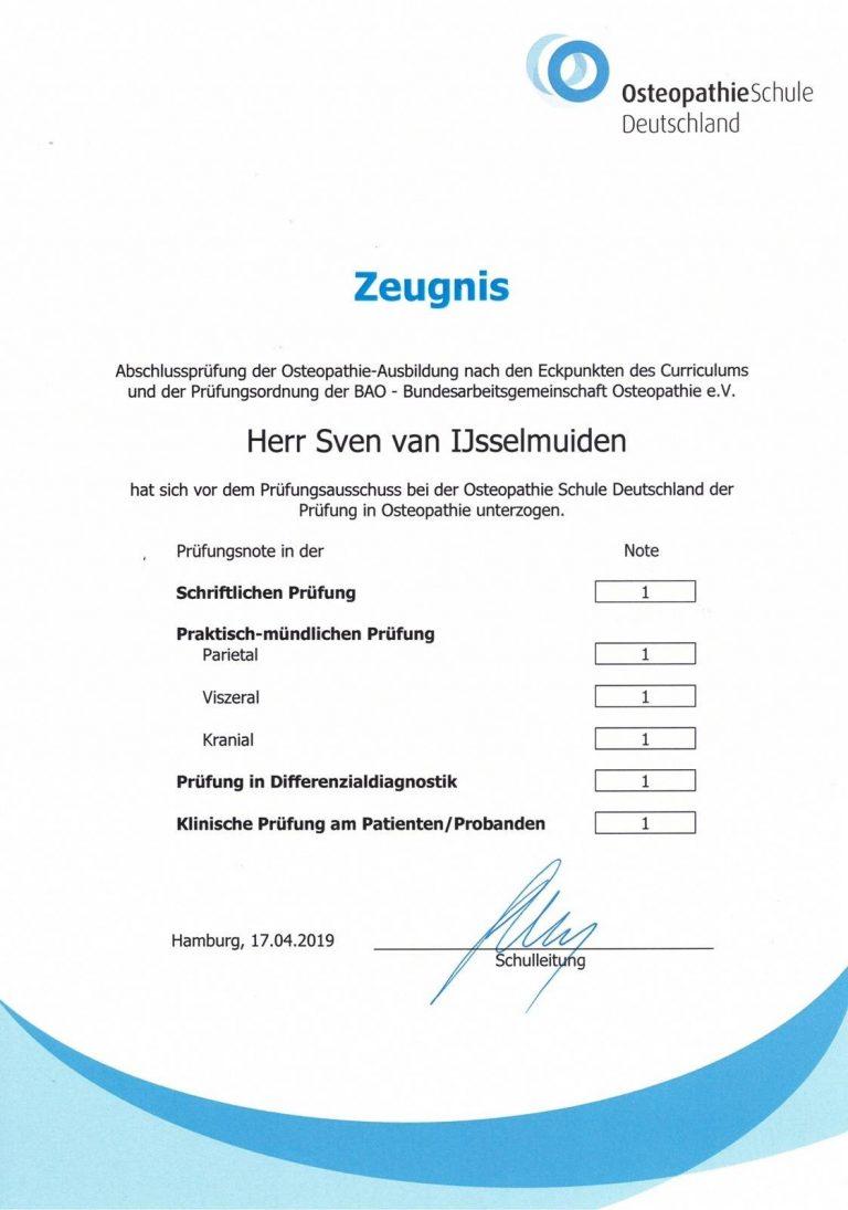 Abschlusszeugnis von Osteopath Sven van IJsselmuiden in Stuttgart