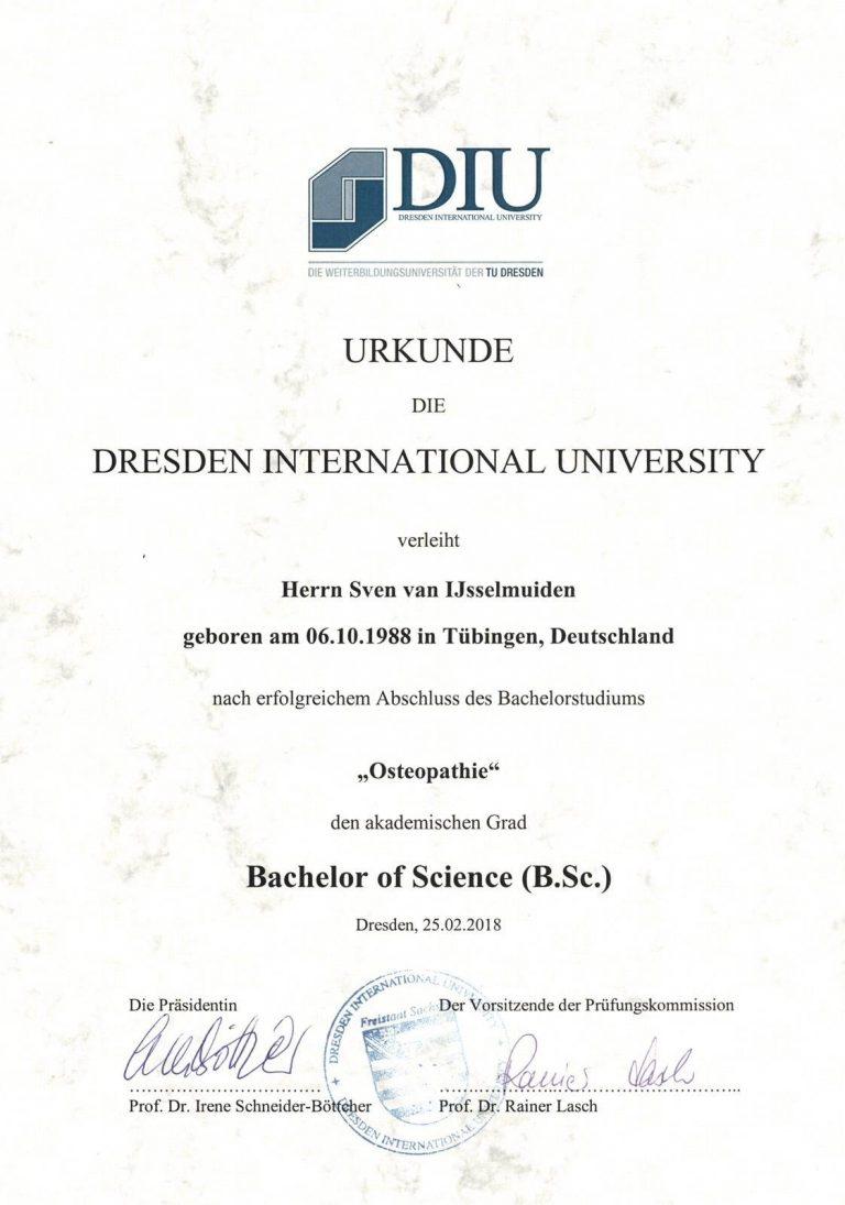 Bachelor of Osteopathie von Sven van IJsselmuiden in Stuttgart