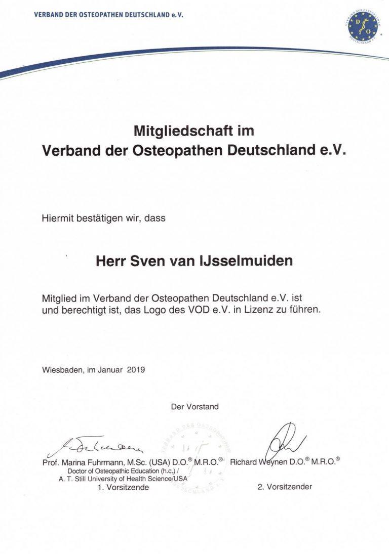 Osteopathie zertifikat Sven van IJsselmuiden