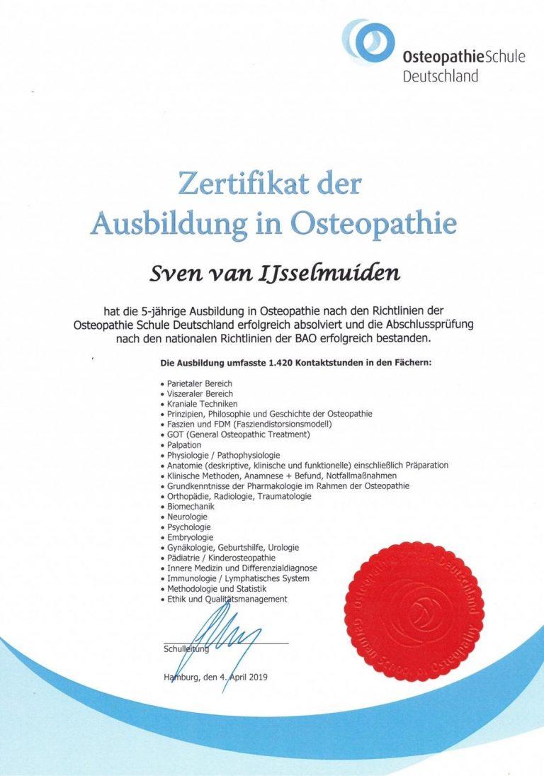 Zertfikat Osteopathie in Stuttgart