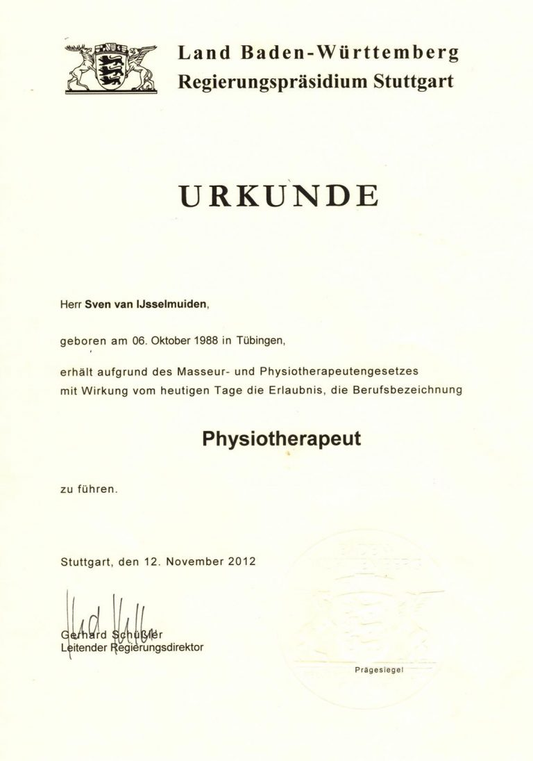 Bescheinigung Physiotherapeut Stuttgart